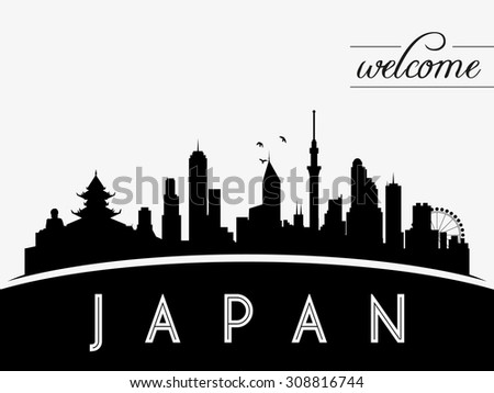 japan skyline silhouette black