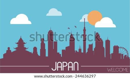 japan skyline silhouette flat