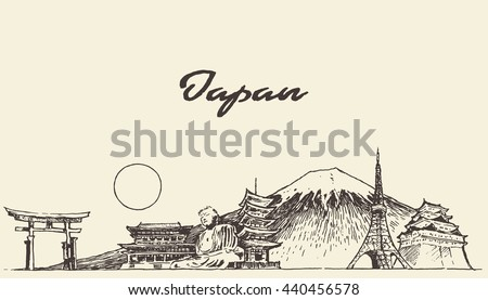 japan skyline  vector engraved
