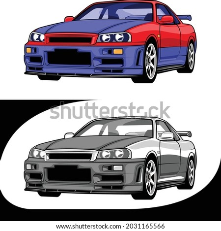 japan sport cars blue red and
