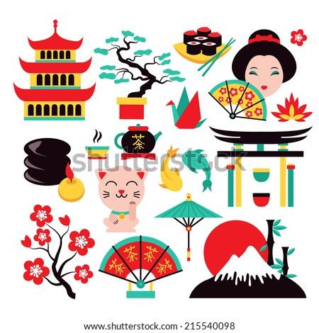 japan symbols set with