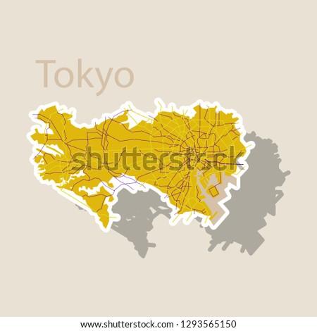 japan tokyo   top view map