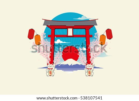 japan torii gate with mount