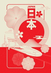 Japan tourism poster/brochure template. Japanese wording mean