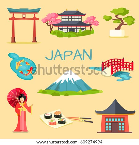japan touristic concept set of