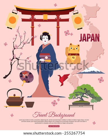 japan travel background with