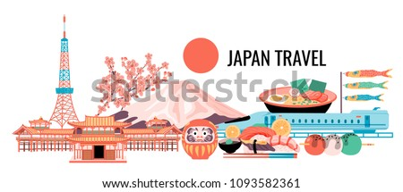 Japan travel banner with tokyo tower, fuji mountain, cherry blossom, ramen, temple, shinkanzen, sushi, Daruma doll, Dango, and flying fish flags, all in colorful flat style,white background, vector