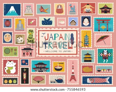 japan travel concept stamp
