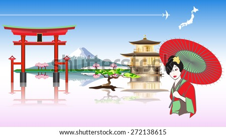 japan travel concept with women