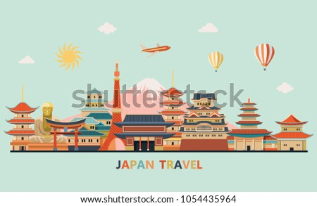 Japan travel. Japan detailed skyline. Travel and tourism background. Vector illustraion