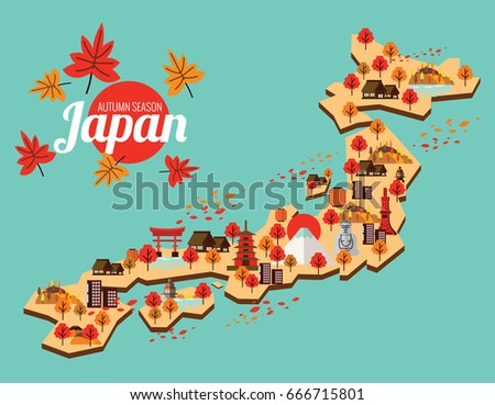 japan travel map autumn season