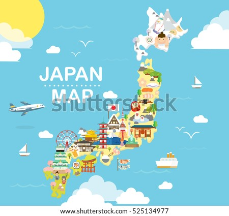 japan travel map in flat