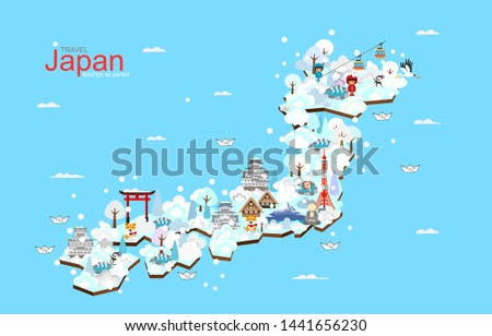 Japan travel map, Japan Winter landmark. Attractions in Japan, travel poster with map - travel to Japan, vector illustration