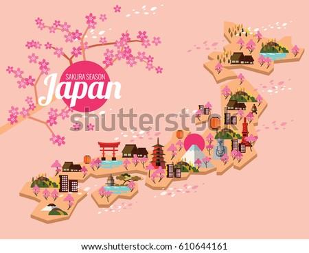 Cute Travel Elements Vector Download Free Vector Art Stock - Japan map vector free download