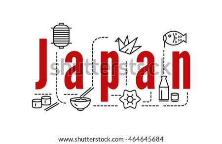 japan typography and icons