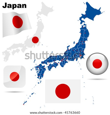 Japan vector set. Detailed country shape with region borders, flags and icons isolated on white background.