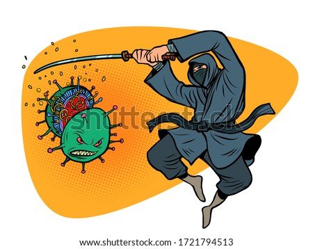 Japan victory in the epidemic of the coronavirus covid19. Ninja cuts the virus with a katana sword. Comics caricature pop art retro illustration drawing