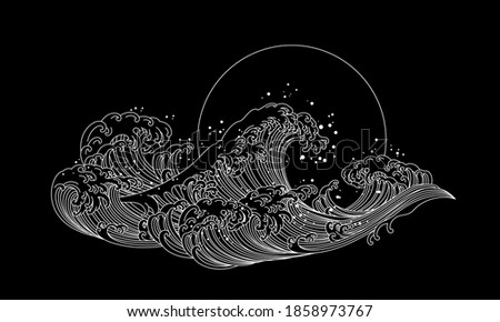 Japan wave ocean vector illustration. Asia and oriental traditional line art design.