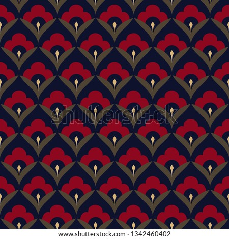 Japan wave pattern ditzy floral motif. Ardent red tiny flowers, green leaves on a navy blue all over design. Print block for fabric, apparel textile, wrapping paper. Minimal oriental vector graphic.