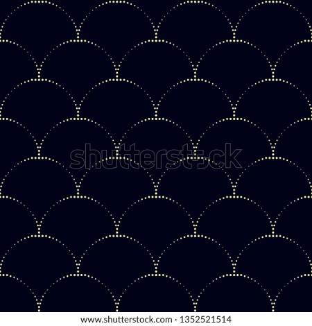 Japan wave pattern oriental allover design. Simple geometric wavy motif. Fish scales seamless vector ornament. Half circles navy blue print block for apparel textile, fabric cloth, garment, phone case