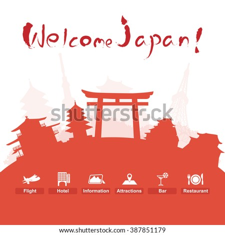 japan with cut silhouette
