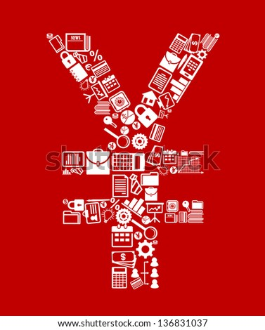 Japan yen currency symbol with finance and business icons. Jpeg (bitmap) version also available in gallery