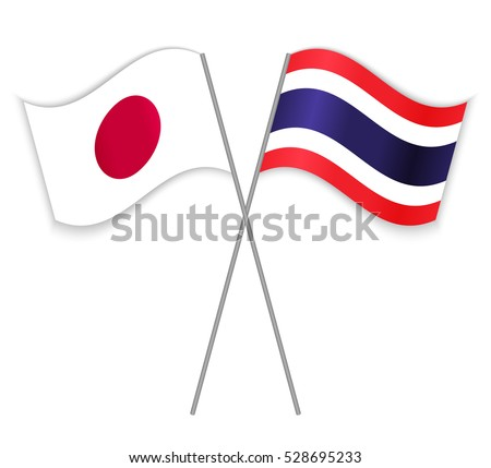 japanese and thai crossed flags