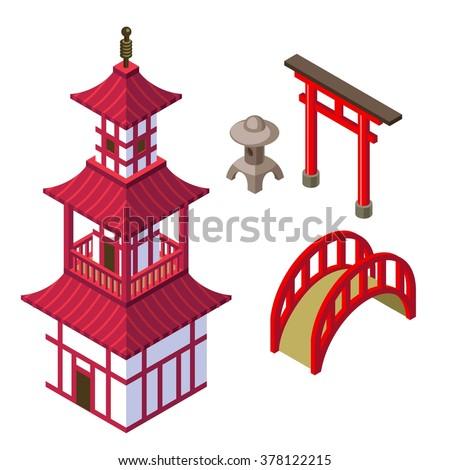 japanese architecture isometric
