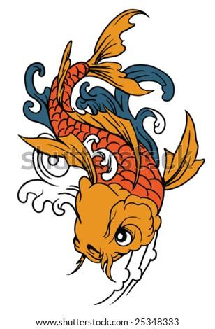 Fish Drawing on Stock Vector   Japanese Art   Vector Koi  Fish    Hand Drawn