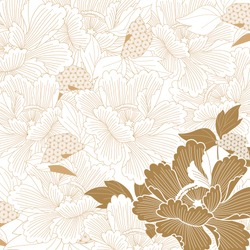 Japanese background vector. Gold flower pattern. Peony flower seamless pattern.