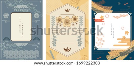 Japanese background with Asian traditional icon vector. Cherry blossom flower, wave pattern, bamboo and ribbon elements