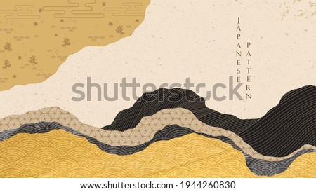 Japanese background with gold and black texture decoration pattern vector. Oriental cloud elements banner design with abstract art elements in vintage style. Geometric line elements.