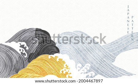 Japanese background with gold and black texture painting texture vector. Oriental natural wave pattern with ocean sea decoration banner design in vintage style.