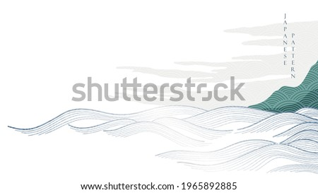 Japanese background with hand drawn wave pattern vector. Ocean sea banner design with natural landscape template in vintage style.
