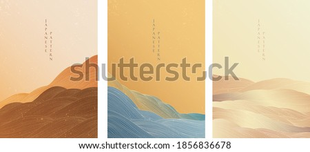 Japanese background with line wave pattern vector. Abstract template with geometric pattern. Ocean sea and mountain forest elements in oriental style.