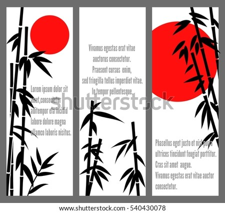 Japanese bamboo tree cards design or vector chinese bambu banners. Poster with black silhouette bamboo illustration