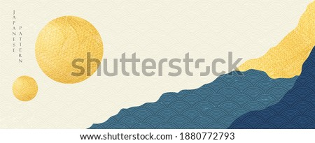 Japanese banner with abstract landscape background vector. Oriental template with gold foil texture in vintage style.