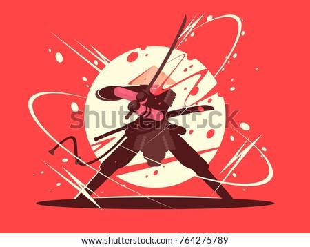 japanese battle samurai with