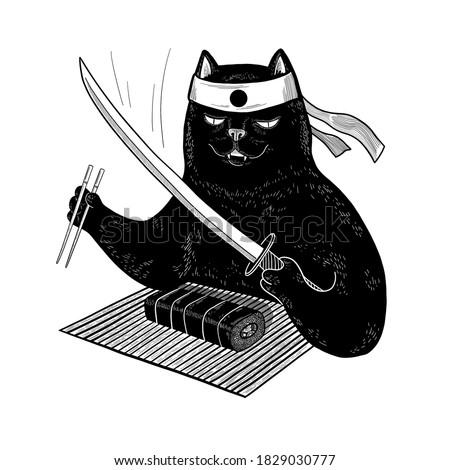 japanese black cat eating sushi