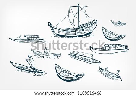 japanese boats ship sketch