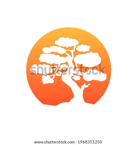 Japanese bonsai tree. Orange round logo, tree icon. Bonsai silhouette vector illustration on isolated white background. Ecology, nature, bio concept. Design template. Photo stock ©