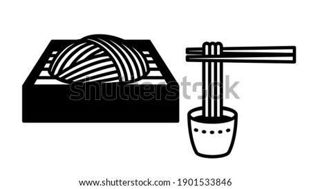Japanese buckwheat noodles. Soba(Zaru soba). Illustration of pick up buckwheat with chopsticks. Stock fotó ©