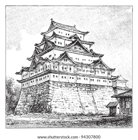 japanese building  castle in