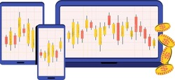 Japanese candlestick chart. Online trading. Financial market. Traders and stock brokers. Stock quotes and commodity prices. Flat vector illustration.