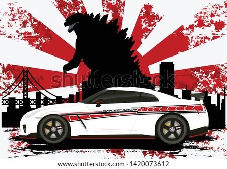 japanese car nissan gtr with