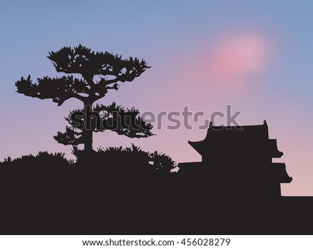 japanese castle and pine tree