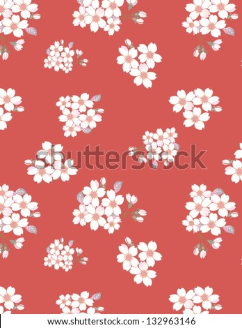 Japanese cherry seamless pattern. You can change the background