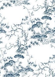 japanese chinese design sketch ink paint style seamless pattern bamboo blossom peach pine