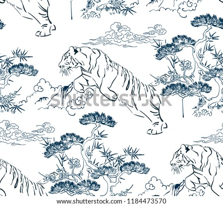 japanese chinese vector design seamless pattern tiger nature