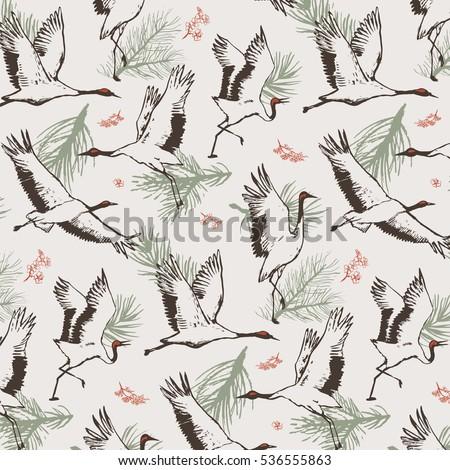 japanese crane bird pattern